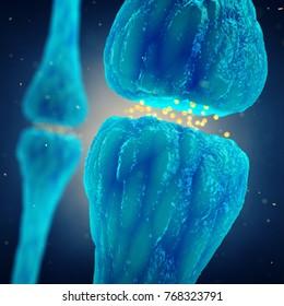 Synaptic transmission , Nervous system , Brain synapses , 3d illustration
