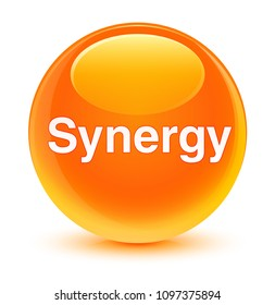 Synergy isolated on glassy orange round button abstract illustration