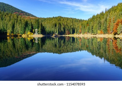 Synevir high altitude lake and forest is reflected in calm water at autumn day the leaf fall.