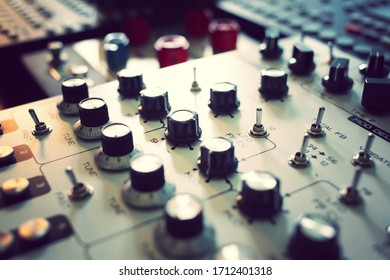 Synthesizer and effects music producer studio selective focus on middle