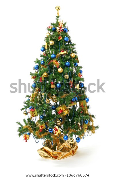 synthetic Christmas tree with many decoration, Christmas ball and gifts. fir tree isolated on white background