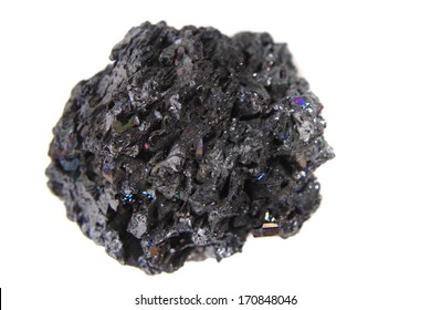 synthetic corundum mineral isolated on the white background (looks like meteor)