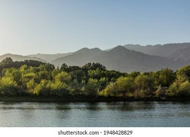 Syr Darya river and landscape near Khujand, Tajikistan - Shutterstock ID 1948428829