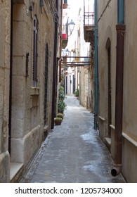 narrow street plants balcony maltese window stock photo edit now