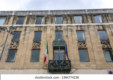 Syracuse, Italy - December 14, 2016: Historical building on Square of Archimedes on Ortygia isle, Syracuse city, Sicily Island in Italy