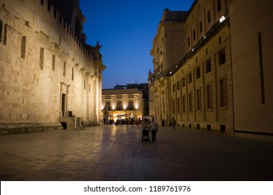 Syracuse, Italy - June 29 2017: The night street view of the famous historic town Syracuse, Sicily.