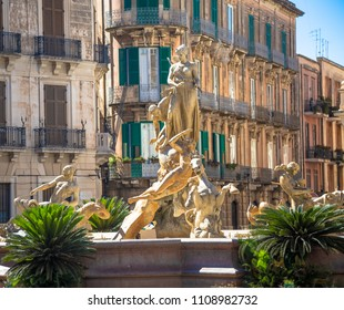 SYRACUSE, ITALY - MAY 18, 2018: Fontana di Diana (Diana's fountain) in Archimede's Square, historical area of Ortigia downtown in Syracuse
