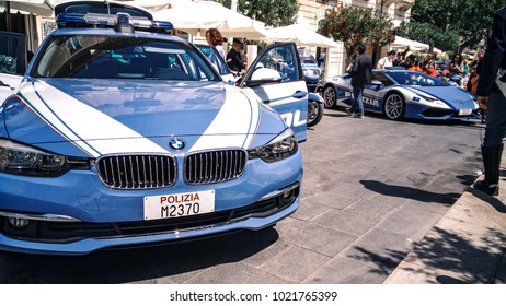 Syracuse, Italy - May 2017: A spring feast of police officers who demonstrating their super-fast cars to the city's guests.
