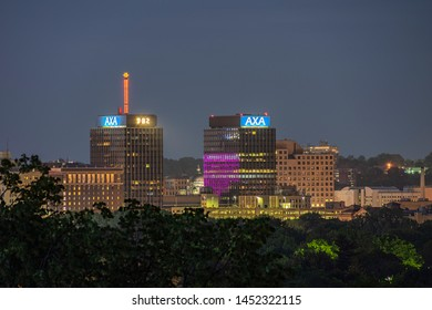 SYRACUSE, NEW YORK - JULY 13, 2019: Night View of The AXA Towers, Previously Known as the Mony Towers at Downtown Syracuse.