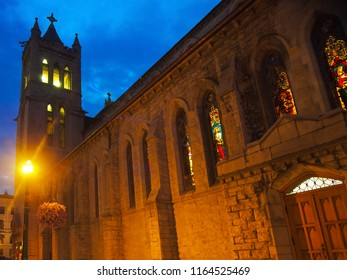 Syracuse, New York, USA. August 26,  2018. View of The Cathedral of the Immaculate Conception at night, in downtown Syracuse , New York It was designed  by Archimedes Russell and built in 1874
