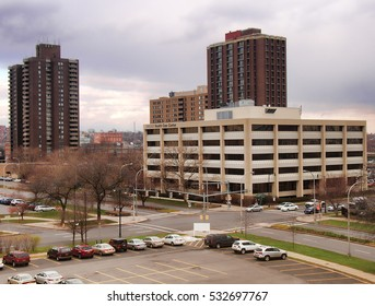 Syracuse, New York , USA. December 8, 2016.View of Upstate Health Care Center , Presidential Plaza and the Madison Towers on South Townsend Street in downtown Syracuse, New York