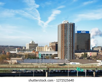 Syracuse, New York, USA. January 2, 2019. View of downtown Syracuse, New York from the Syracuse University hill on a clear winter morning