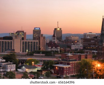 Syracuse, New York, USA. June 6, 2017. View looking south of the city of Syracuse, New York, in upstate New York at twilight