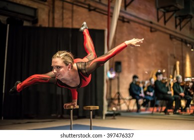 SYRACUSE, NEW YORK USA - MARCH 12, 2016: The MOST (Museum of Science and Tech). Acrobats and circus performers from CirqOvation join the Symphoria Orchestras MOTION DYNAMICS in Syracuse New York, USA.