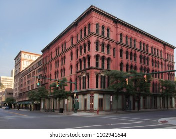 Syracuse, New York, USA. May 28, 2018 The corner of East Washington and Warren Streets in downtown Syracuse, New York on Memorial Day at sunrise