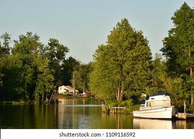 SYRACUSE, NY – MAY 17 2018: Motorboat on River or Lake   on May  17 2018 in Syracuse, NY