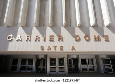 SYRACUSE, NY, USA - JUNE 26: A view of the Carrier Dome at Syracuse University in Syracuse, New York on June 26, 2018. The Carrier Dome is the home stadium of the Syracuse Orange NCAA basketball team.