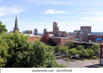 SYRACUSE, NY, USA - JUNE 26: A view of the skyline of downtown Syracuse in Syracuse, New York on June 26, 2018. Syracuse is a city in upstate New York.