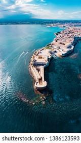 Syracuse - Sicily, Italia, Isola di Ortigia Castello Maniace Beautiful drone view of Maniace Castle