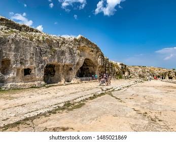 Syracuse, Sicily, Italy 04 June 2019 The Ear of Dionysius (Orecchio di Dionisio) a limestone cave carved in ancient times in Syracuse (Siracusa), Sicily.Greek history, culture, architecture.