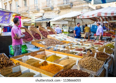 Syracuse, Sicily, Italy. Detail of the daily traditional local pistachios and almonds market.