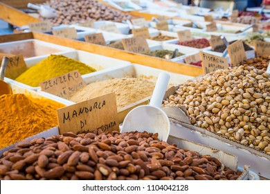 Syracuse, Sicily, Italy. Detail of the traditional local pistachios and almonds market.