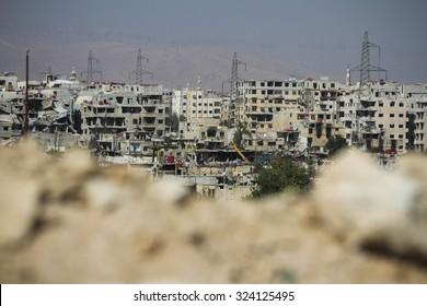 Syria, Damascus, September 2013. Damascus was destroyed as a result of prolonged fighting between the Syrian national army and rebels.