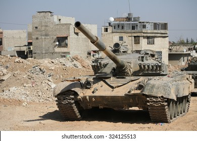 Syria, Damascus, September 2013. Tank Syrian national army is close to a war zone in the city of Damascus.