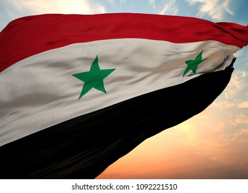 Syria Flag, 3D rendering Syria flag on sky with sunlight