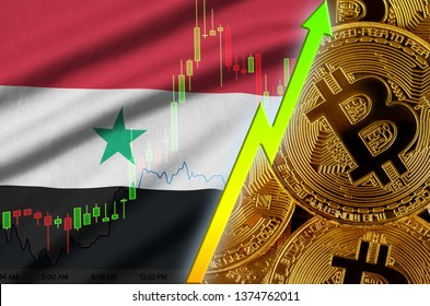 Syria flag and cryptocurrency growing trend with many golden bitcoins