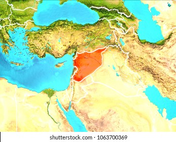 Syria highlighted in red from Earth's orbit. 3D illustration. Elements of this image furnished by NASA.