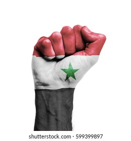 Syria national flag painted onto a male clenched fist. Strength, Power, Protest concept