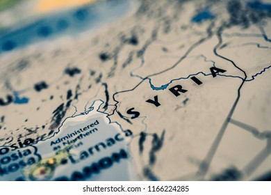 Syria on map background