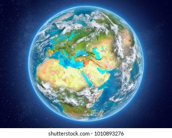 Syria in red on model of planet Earth with clouds and atmosphere in space. 3D illustration. Elements of this image furnished by NASA.