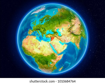 Syria in red from Earthâ??s orbit. 3D illustration. Elements of this image furnished by NASA.
