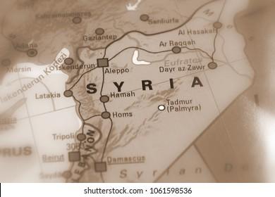 Syria, Syrian Arab Republic - conflict map (sepia selective focus)