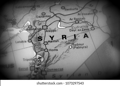 Syria, Syrian Arab Republic -  conflict map (black and white)