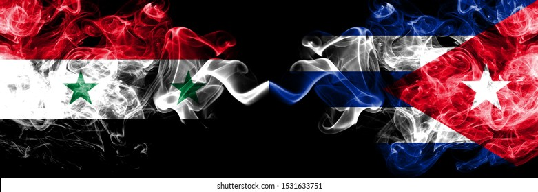 Syria vs Cuba, Cuban smoke flags placed side by side. Thick colored silky smoke flags of Syrian and Cuba, Cuban