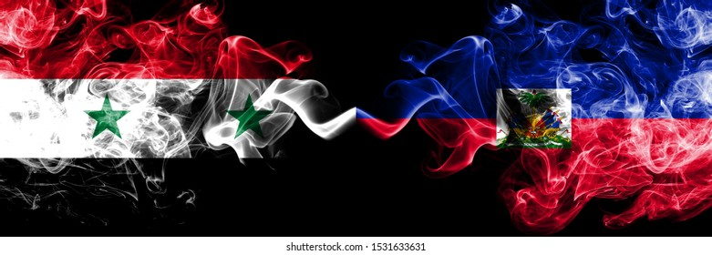 Syria vs Haiti, Haitian smoke flags placed side by side. Thick colored silky smoke flags of Syrian and Haiti, Haitian