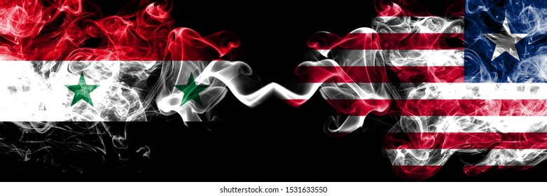 Syria vs Liberia, Liberian smoke flags placed side by side. Thick colored silky smoke flags of Syrian and Liberia, Liberian