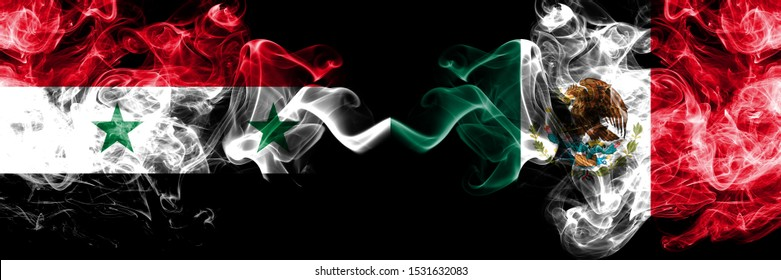 Syria vs Mexico, Mexican smoke flags placed side by side. Thick colored silky smoke flags of Syrian and Mexico, Mexican