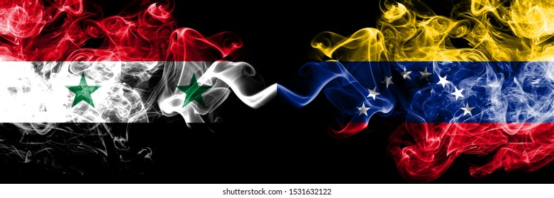 Syria vs Venezuela, Venezuelan smoke flags placed side by side. Thick colored silky smoke flags of Syrian and Venezuela, Venezuelan