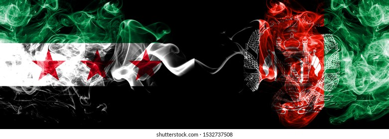 Syrian Arab Republic vs Afghanistan, Afghani smoke flags placed side by side. Thick colored silky smoke flags of Syria opposition and Afghanistan, Afghani