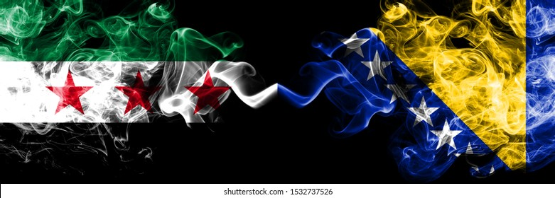 Syrian Arab Republic vs Bosnia and Herzegovina, Bosnian smoke flags placed side by side. Thick colored silky smoke flags of Syria opposition and Bosnia and Herzegovina, Bosnian