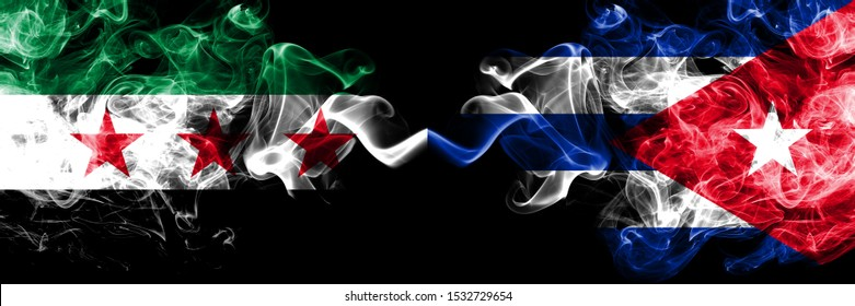 Syrian Arab Republic vs Cuba, Cuban smoke flags placed side by side. Thick colored silky smoke flags of Syria opposition and Cuba, Cuban