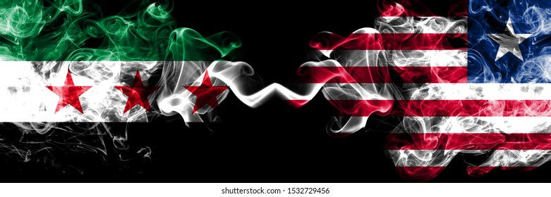 Syrian Arab Republic vs Liberia, Liberian smoke flags placed side by side. Thick colored silky smoke flags of Syria opposition and Liberia, Liberian