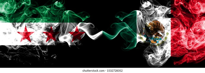 Syrian Arab Republic vs Mexico, Mexican smoke flags placed side by side. Thick colored silky smoke flags of Syria opposition and Mexico, Mexican