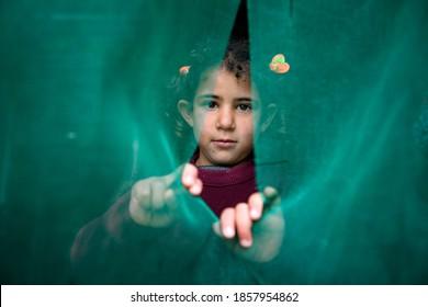 A Syrian girl at Zaatari refugee camp in Jordan on 2018-12-15