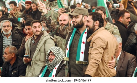 Syrian opposition leaders participate in the celebration of the tenth anniversary of the Syrian revolution. Flags of the Syrian Revolution. The conflict in Syria. Aleppo, Syria March 16, 2021