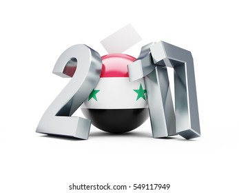 Syrian presidential election 2017 3d Illustrations on a white background
